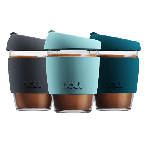 Doli Glas Kaffeebecher to go 340ml I spülmaschinengeeignet und dicht I Kaffee Tee nachhaltig unterwegs I Coffee to go Becher aus Glas I wiederverwendbarer Kaffeebecher Glas (Mint)