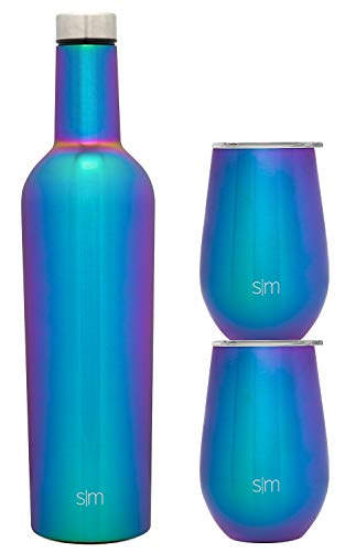 Simple Modern Spirit Wine Bundle - 2 12oz Wine Tumbler Glasses with Lids & 1 Wine Bottle - Vacuum Insulated 18/8 Stainless Steel -Prism