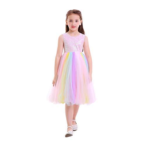 OBEEII Kinder Sommer Einhorn Tutu Kleid für Mädchen Stickerei Blume Ballkleid Baby Party Pailletten 7-8 Jahre