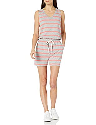 Amazon Essentials Women's Studio Terry Fleece Romper, Light Grey Heather/Coral Stripe, Large