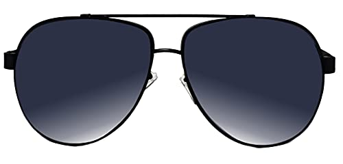 FIKO AVIATORS BIG aviador Gafas de sol Polarizadas Hombre y Mujer Redondo Lentes de sol Marco UV400 (NERO)