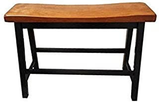 Christopher Knight Home Toluca Saddle Wood Counter Dining Bench (Set of 2), Walnut/Black