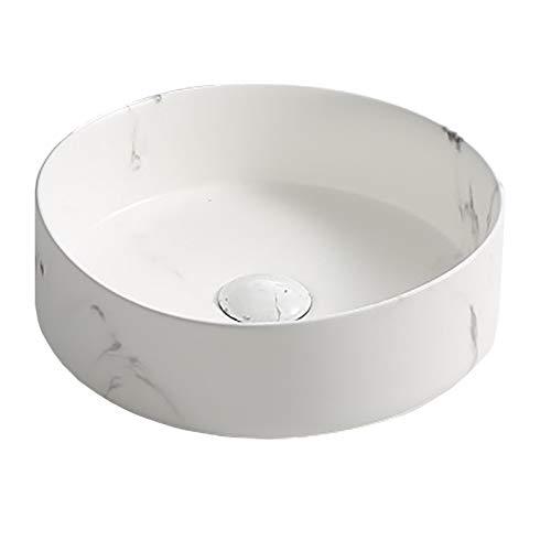 STARBATH PLUS Lavabo Ceramica Sobre Encimera Lavamanos Redondo 35 x 35 x 12 cm SFCIL-CT (Calacatta)