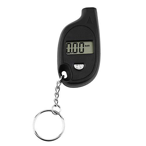 FinukGo 1 stück Mini Tragbare Schlüsselbund LCD Digital Auto Reifen Luftdruckprüfer Auto Motorrad Test Tool (mit Zelle Lithium Batterie) -schwarz