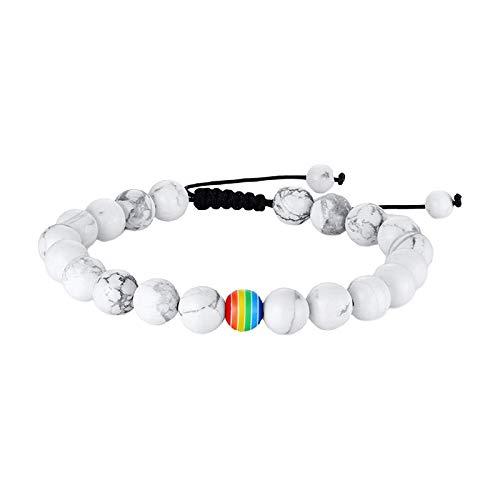 Non-brand LGBT Pride Pride Peace Stone Pulsera con Cuentas Accesorios de Joyería Hechos a Mano - Turquesa Blanco