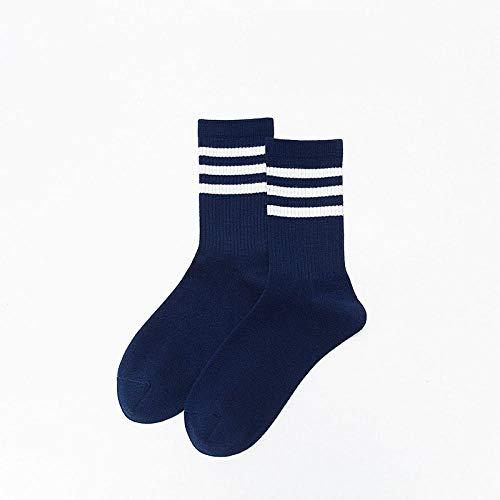 XINDUO Calcetines Termicos Mujer de Invierno,Calcetines de algodón Transpirable a Rayas Primavera y Verano 5 Piezas-Azul Marino,Calcetines de algodón de Mujer Sencillos y cómodos