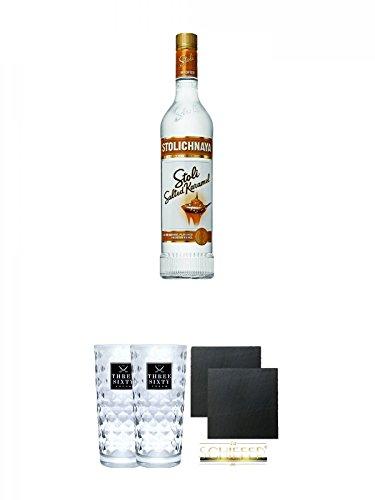 Stolichnaya Salted Karamel 37,5% 0,7 Liter + Three Sixty Vodka Gläser 2 Stück + Schiefer Glasuntersetzer eckig ca. 9,5 cm Ø 2 Stück