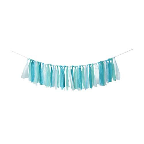 Amosfun Birthday Ribbon Tassel Garland Hanging Rag Tie Banner Highchair String Banner Photo Props for Birthday Party Baby Shower