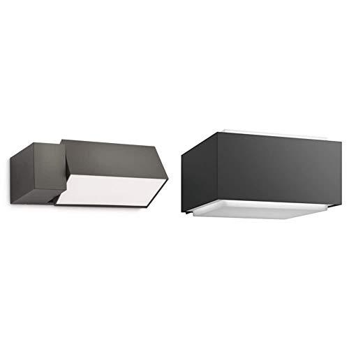 Philips myGarden Border - Aplique, iluminación exterior, bombilla incluida + myGarden Hedgehog Aplique exterior, resistente a la intemperie, en aluminio, color antracita, IP44