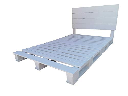 Dydaya Home Cama de Palets con Cabecero Color Blanco & Somier Base de Camas Somieres Muebles con pallets (200, 190)