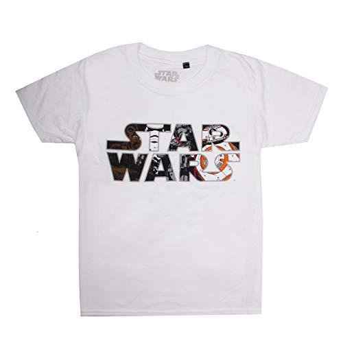 Star Wars Logo Characters Camiseta, Blanco (White White), 7-8 años para Niños