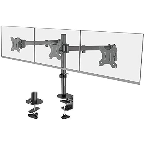 WORLDLIFT Soporte de Tres Brazo de Escritorio Ajustable, para Pantalla de Monitor de TV, LCD y computadora de13-27, con Capacidad de Carga de 7kg para Cada Monitor, VESA 75x75/100x100mm