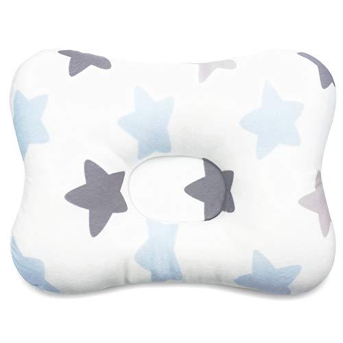 Malomme Babykissen für Atmungsaktive 3D Air Mesh Bio-Baumwolle, Baby Pillow Schutz für Flat Head Syndrom Aniland,Baby kopfkissen,Baby Kissen gegen plattkopf (Blauer Stern)