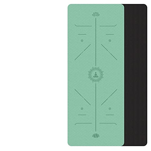 lgnoran Estera De Yoga TPE con Línea De Posición Alfombra Antideslizante Adecuado para Principiantes Estera De Gimnasia Ambiental Fitness
