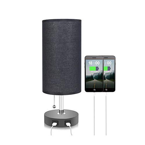 WFL-lámpara de escritorio Lámpara de mesa de escritorio USB doble de carga ligera, Tela Hierro forjado luz de la noche, E26 * 1 interruptor de botón, Salón Dormitorio Estudio de cabecera Lámpara de me