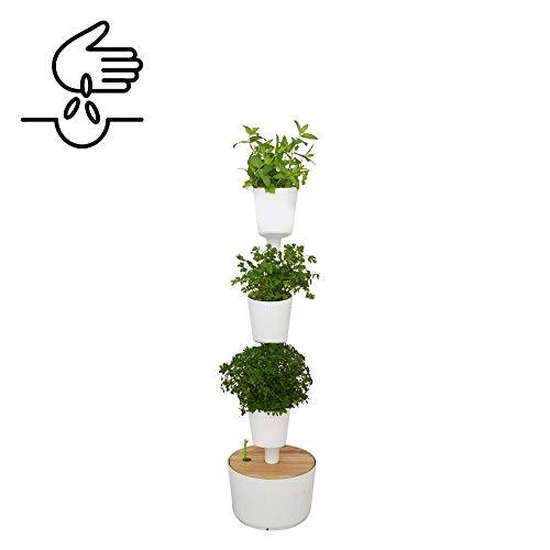 Citysens - Orto urbano con auto-irrigazione, bianco, 3 vasi, include semi