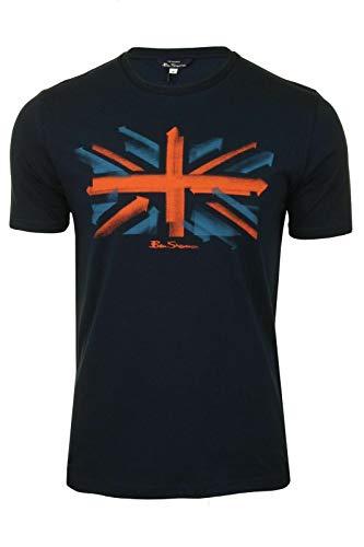 Ben-Sherman Herren T-Shirt mit Union Jack-Logo, weiche Baumwolle, Zielscheibe, Marineblau Gr. XXL, marineblau