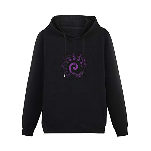 Mens Fashion Starcraft II Starcraft II Zerg Creeping Shadow Purple Logo Hoodies Long Sleeve Pullover Loose Hoody Sweatershirt Black XL