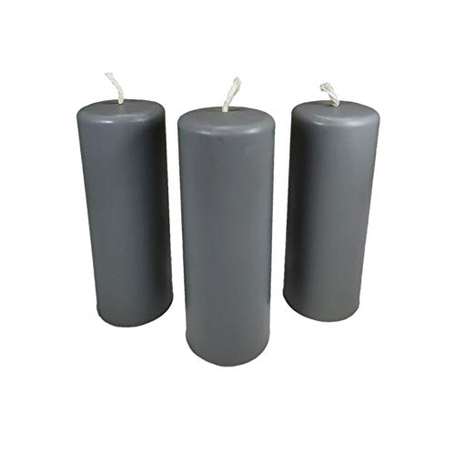3X Pillar Candles Rustic Height 95mm Ø34mm Beeswax drip Candles Grey 36364