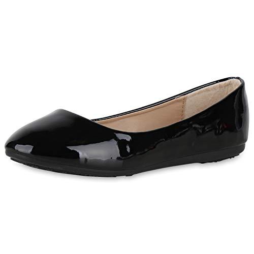 SCARPE VITA Damen Klassische Ballerinas Lack Slippers Slip On Schuhe Flats 174451 Schwarz Lack 37