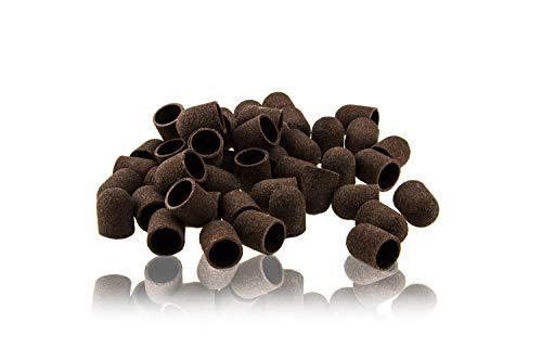PROFICO 100 Stück Schleifkappen | #120 Mittel | Schleifkappe Schleifband | Nagelfräser Aufsatz für Fußpflege und Pediküre (10 mm)