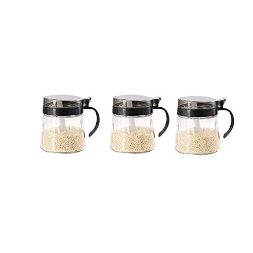 Spice box glazen specerijen,met leeg label,geschikt voor keuken.Size:9cm*9cm*7.5cm pc's Kruiden potten WSYGHP (Size : B)