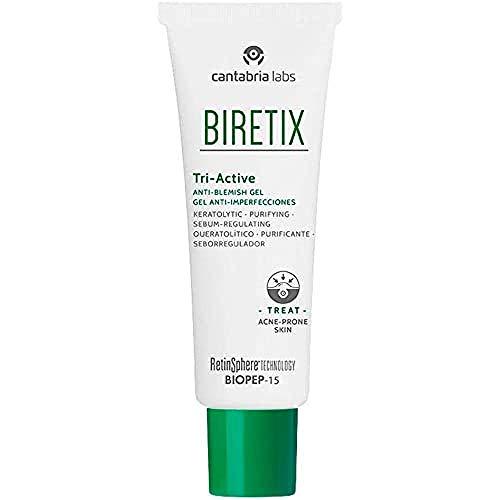 Biretix Tri Active Gel Anti-Imperfecciones, 50 Ml.- Previene y Corrige Granos y Marcas de Acné, 50 Mililitros