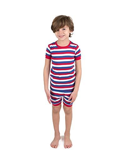 Leveret Shorts Pajamas Boys 2 Piece Pajamas Set 100% Cotton (Red/White/Blue,Size 8 Years)