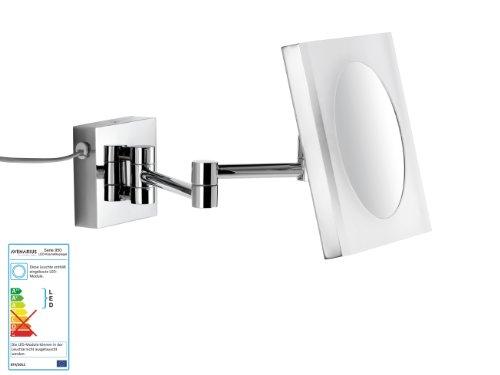 Wand-Kosmetikspiegel-Wandspiegel-5-fach-Vergrerung-Kabel-Quadratisch-mit-LED-Beleuchtung