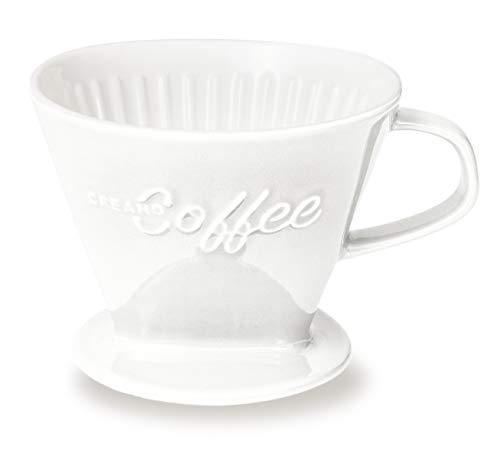 Creano Porzellan Kaffeefilter (Weiß), Filter Größe 4 für Filtertüten Gr. 1x4, ca. 800gr Gewicht für extrem sicheren Stand, Achtung schwer, in 6 Farben erhältlich