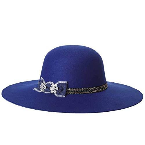 DANJIA Neuer großer Hutspitzenhut der Woolen Mützenart und weisedamen (Color : Blue2, Size : 57cm)