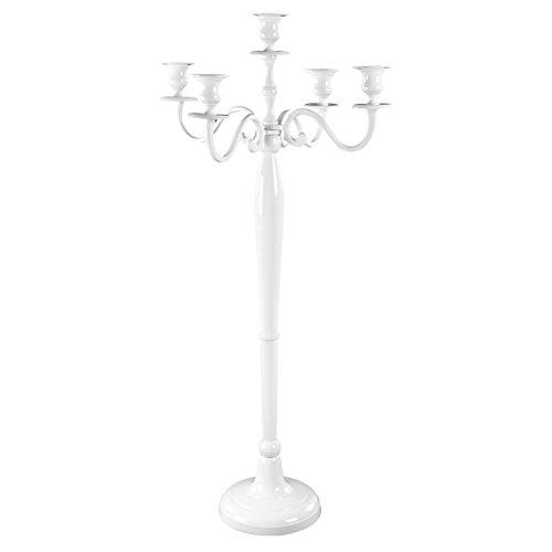 Gräfenstayn Kerzenleuchter 1, 3 oder 5-armig Kerzenständer - Verschiedene Größen - Leuchter Kandelaber in Silber, Schwarz, Weiß oder Gold (XL, Weiß)