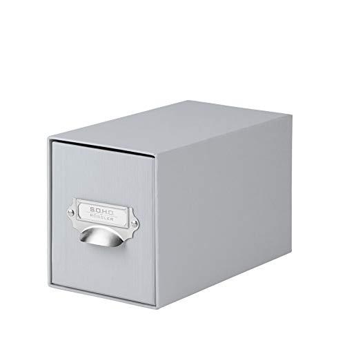 Rössler 1327452170 - S.O.H.O. Aufbewahrungs CD-Schubladenbox, mit beschriftbarem Einsteckschild und Griff, stone