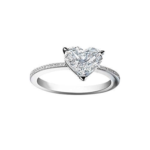 HINK Anillos para Mujer, Regalo de joyería de Anillo Femenino de circonita microincrustada de Diamante Completo de Metal Personalizado, Regalo de San Valentín