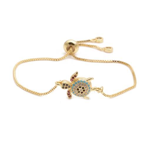 Pulsera ajustable para mujer con microincrustaciones de tortuga de circón de joyería europea y americana nueva de moda