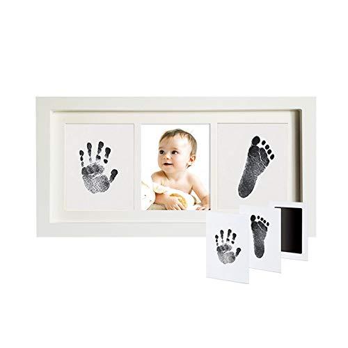 AUEDC Nouveau bébé Handprint et l'empreinte Kit, sûr et Facile à Utiliser, Douche bébé Unique Coffrets Cadeaux Grands pour bébé Salle de décoration ou de Baby Shower de Cadeaux,Blanc