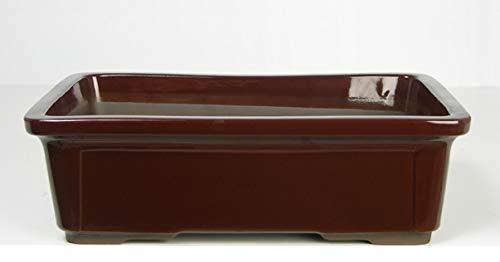 CERTRE Vase Bonsaï rectangulaire 7000 en grès – 38,5 x 28 h 12 cm – Couleur cuir émaillé Dimensions intérieures : 35 x 24,5 h 10 cm