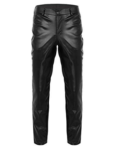 YOOJIA Herren Wetlook Hose Glänzend PU Leder Slim Fit Hose Motorad Biker Lederhose Clubwear Lange Hose Pants Schwarz XX-Large