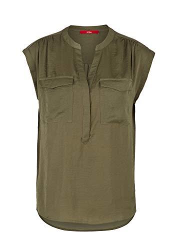 s.Oliver Damen Fließende Satinbluse mit Brusttaschen khaki 42