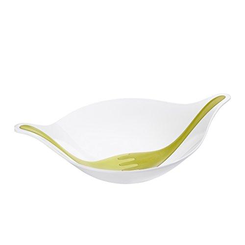 koziol Salatschale mit Besteck 3 l Leaf L+, thermoplastischer Kunststoff, weiß mit schwarz/stone, 32,9 x 48,6 x 12,7 cm