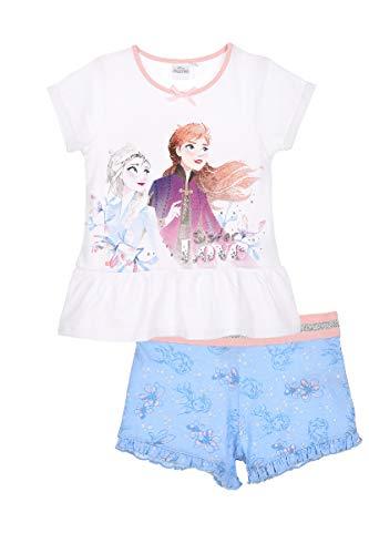 Die Eiskönigin 2 Schlafanzug Pyjama Mädchen (Weiss 2, Gr. 128)
