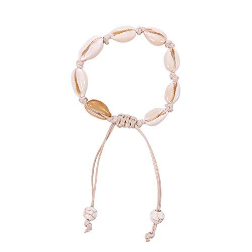 Amosfun - Pulseras de concha náutica bohemia playa pulseras ajustables tejidas pulseras tobilleras colgantes de concha marina colgantes hawaianas regalos para mujer color blanco