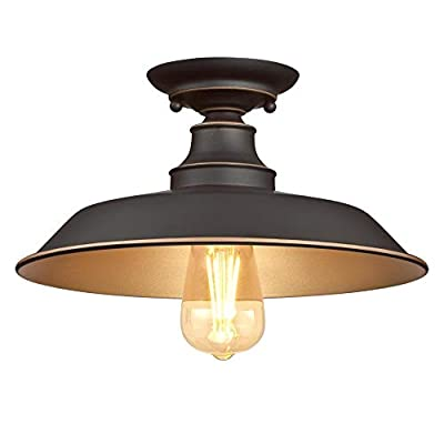 Westinghouse Lighting 6370300 Iron Hill 12-Inch, One-Light Indoor Semi Flush Mount Ceiling Light, Oil Rubbed Bronze Finish with Highlights