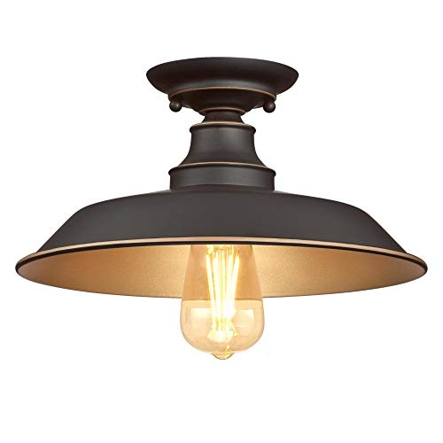 Westinghouse Lighting 6370300 Iron Hill 12-Inch, One-Light Indoor Semi Flush...