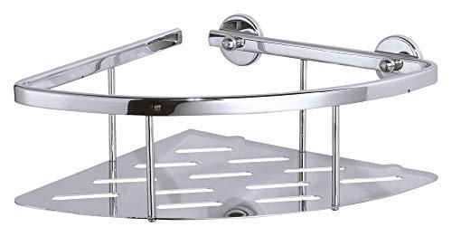 tesa ALUXX Eckablage für die Dusche, Aluminium, verchromt, rostfrei, inkl. Klebelösung, tiefer Boden, 92mm x 250mm x 125mm