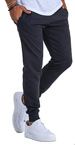 Björn Swensen, pantaloni da jogging da uomo in cotone, pantaloni sportivi, lunghi, per il tempo libero, slim fit, antracite., M