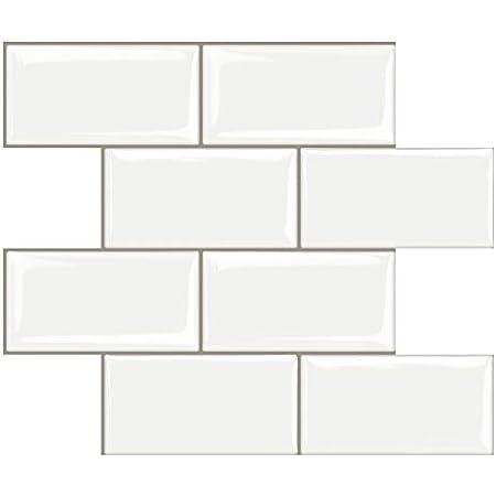 STICKGOO 10-Sheet Peel and Stick Subway Tile, Stick on Tiles Backsplash for Kitchen & Bathroom in White (Thicker Design)