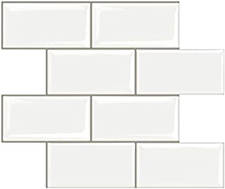 STICKGOO Peel and Stick Subway Tile, Stick on Tiles Backsplash for Kitchen & Bathroom in White (Pack of 1, Thicker Design)