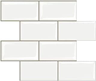STICKGOO Peel and Stick Subway Tile, Stick on Tiles Backsplash for Kitchen & Bathroom in White (Pack of 10, Thicker Design)