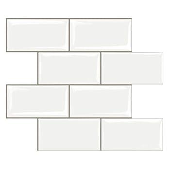 STICKGOO 10-Sheet Peel and Stick Subway Tile Stick on Tiles Backsplash for Kitchen & Bathroom in White  Thicker Design